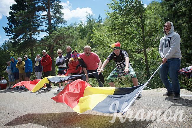 colourful fans up Ventoux<br /> <br /> stage 12: Montpellier - Mont Ventoux (shortened stage due to wind until Chalet Reynard; 178km)<br /> 103rd Tour de France 2016