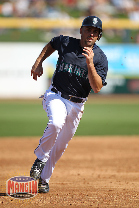 PEORIA - MARCH 5:  Jack Wilson of the Seattle Mariners runs the bases during a spring training game against the San Diego Padres on March 5, 2010 at the Peoria Sports Complex in Peoria, Arizona. (Photo by Brad Mangin)