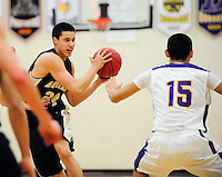 UW recruit, Bronson Koenig, looks to pass by DeForest's Allen Castillo on Tuesday, 12/18/12, in DeForest, Wisconsin | Greg Dixon photos accompanied Dennis Semrau article in the Wisconsin State Journal on 12/19/12 and on-line at http://tinyurl.com/Bronson-Koenig-DeForest-WI