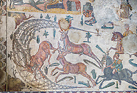 Deer being hunted from the Room of The Small Hunt, no 25 - Roman mosaics at the Villa Romana del Casale which containis the richest, largest and most complex collection of Roman mosaics in the world, circa the first quarter of the 4th century AD. Sicily, Italy. A UNESCO World Heritage Site.