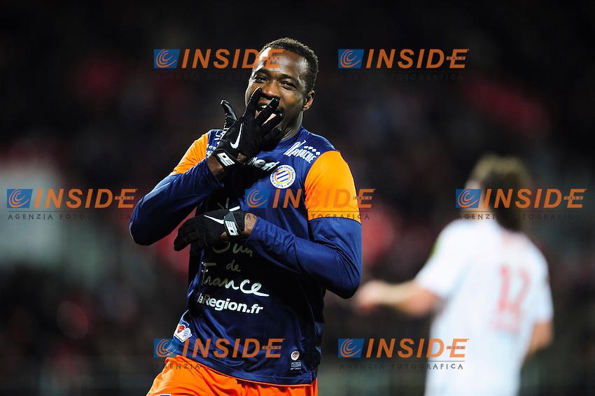 joie de John Utaka  (Montpellier) apres son but .Football Calcio 2012/2013.Ligue 1 Francia.Foto Panoramic / Insidefoto .ITALY ONLY
