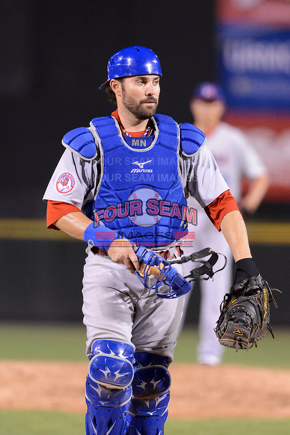 Buffalo Bisons catcher Mike Nickeas (16) during a game against the Rochester Red Wings on August 30, 2013 at Frontier Field in Rochester, New York.  Buffalo defeated Rochester 6-3.  (Mike Janes/Four Seam Images)