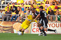 26 JUNE 2010:  Jason Garey of the Columbus Crew (9), Julius James #2 of DC United  and Devon McTavish #18 of DC United  during MLS soccer game between DC United vs Columbus Crew at Crew Stadium in Columbus, Ohio on May 29, 2010. The Crew defeated DC United 2-0.
