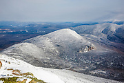 Mount Garfield from Mount Lafayette during the winter months in the White Mountains, New Hampshire USA. The Pemigewasset Wilderness is also visible in this image
