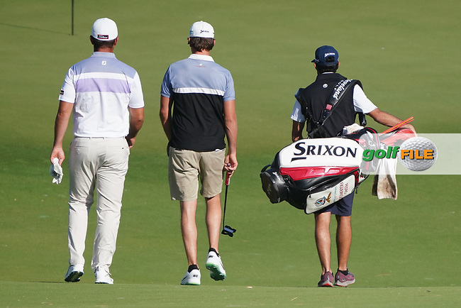 Ricardo Santos (POR) and Pedro Figueiredo (POR) on the 4th during the Preview of the Commercial Bank Qatar Masters 2020 at the Education City Golf Club, Doha, Qatar . 03/03/2020<br /> Picture: Golffile | Thos Caffrey<br /> <br /> <br /> All photo usage must carry mandatory copyright credit (© Golffile | Thos Caffrey)