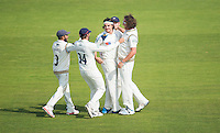 Picture by Allan McKenzie/SWpix.com - 11/09/2014 - Cricket - LV County Championship Div One - Nottinghamshire County Cricket Club v Yorkshire County Cricket Club - Trent Bridge, West Bridgford, England County Cricket Club - Yorkshire's Jack Brooks is congratulated on dismissing Nottinghamshire's Michael Lumb.