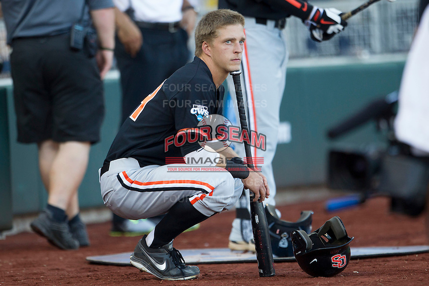 Oregon State second baseman Andy Peterson (14) before  Game 9 of the 2013 Men's College World Series against the Indiana Hoosiers on June 19, 2013 at TD Ameritrade Park in Omaha, Nebraska. The Beavers defeated the Hoosiers 1-0, eliminating Indiana from the tournament. (Andrew Woolley/Four Seam Images)