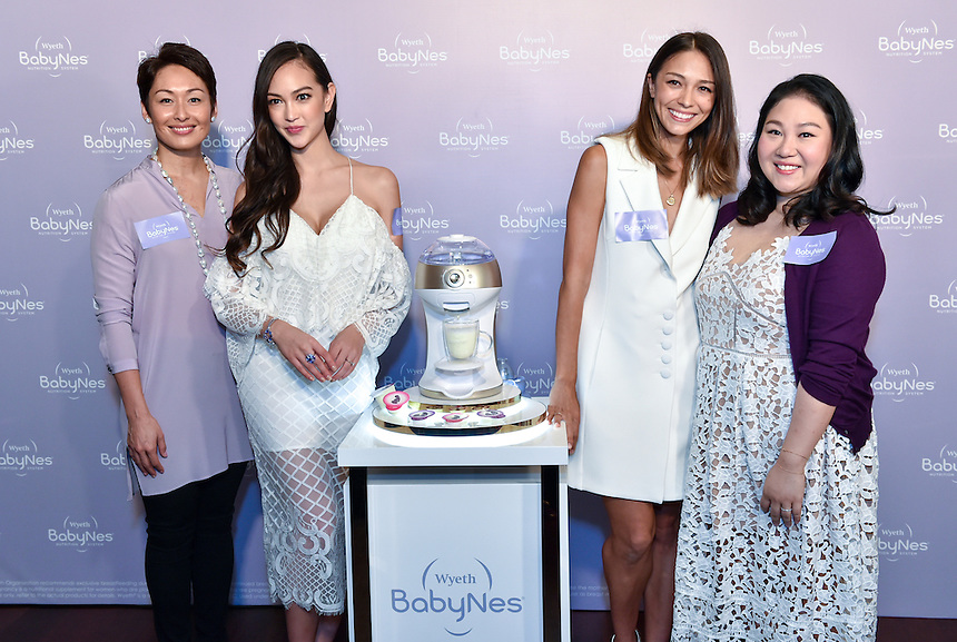 L to R Olympic swimmer,Robyn Claire Lamsam,super model, Jessica Cambensy,supermodel Cara Grogan and socialite Natalie Chan attend the opening of the Wyeth Babynes shop at IFC Hong KOng