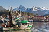 Commercial fishing boats in Sitka Harbor, Baranof Island, Sitka, Alaska.