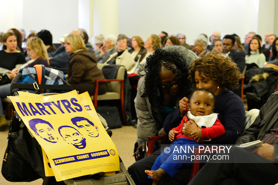 Feb. 25, 2013 - Mineola, New York, U.S. - SCOTTIE COADS, holding her 9-month-old grandson PARKER, and with MARTYRS poster. The legislature postponed the vote on the map shortly before 1 AM the morning of February 26, nearly 12 hours after the meeting started on 1:30 PM Feb. 25.