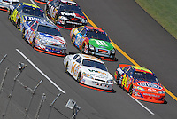 Apr 29, 2007; Talladega, AL, USA; Nascar Nextel Cup Series drivers Jeff Gordon (24) and Sterling Marlin (14) lead the field during the Aarons 499 at Talladega Superspeedway. Mandatory Credit: Mark J. Rebilas