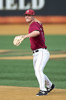 Harvard Crimson second baseman Mitch Klug (6) makes a throw to first base against the Wake Forest Demon Deacons at David F. Couch Ballpark on March 5, 2016 in Winston-Salem, North Carolina.  The Crimson defeated the Demon Deacons 6-3.  (Brian Westerholt/Four Seam Images)