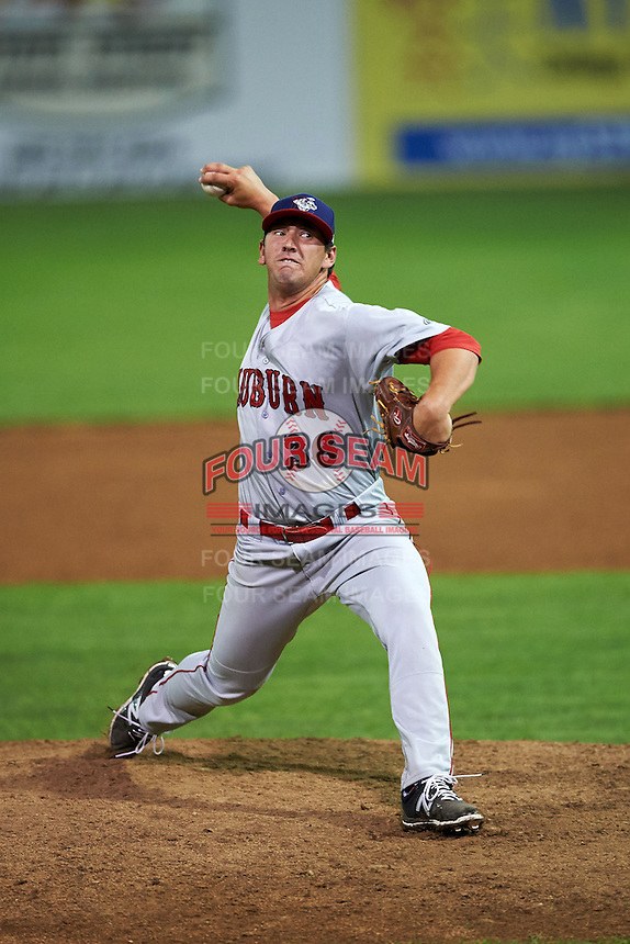Auburn Doubledays pitcher Tommy Peterson (36) delivers a pitch during a game against the Batavia Muckdogs on July 10, 2015 at Dwyer Stadium in Batavia, New York.  Auburn defeated Batavia 13-1.  (Mike Janes/Four Seam Images)