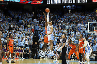 CHAPEL HILL, NC - JANUARY 11: Garrison Brooks #15 of the University of North Carolina wins the opening tip-off during a game between Clemson and North Carolina at Dean E. Smith Center on January 11, 2020 in Chapel Hill, North Carolina.