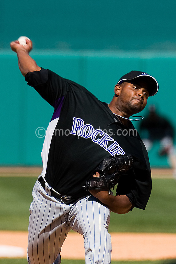 Mar 22, 2008; Tucson, AZ, USA; Colorado Rockies pitcher Ramon Ramirez (61) throws a pitch during a game against the Arizona Diamondbacks at Tucson Electric Park.  The Rockies would win the game 12-11.