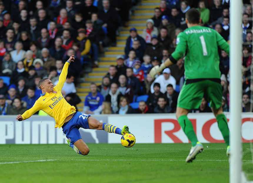 Arsenal's Kieran Gibbs in action during todays match  <br /> <br /> Photo by Ashley Crowden/CameraSport<br /> <br /> Football - Barclays Premiership - Cardiff City v Arsenal - Saturday 30th November 2013 - Cardiff City Stadium - Cardiff<br /> <br /> &copy; CameraSport - 43 Linden Ave. Countesthorpe. Leicester. England. LE8 5PG - Tel: +44 (0) 116 277 4147 - admin@camerasport.com - www.camerasport.com
