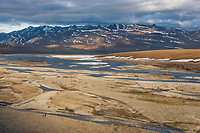 Hikers on the Kongakut River, Arctic National Wildlife Refuge, Brooks Range mountains, Alaska.