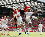 Nemanja Vidic gets above Jamie Carragher to equalise in the first half during the Michael Carrick Testimonial match at the Old Trafford Stadium, Manchester. Picture date: June 4th 2017. Picture credit should read: Simon Bellis/Sportimage