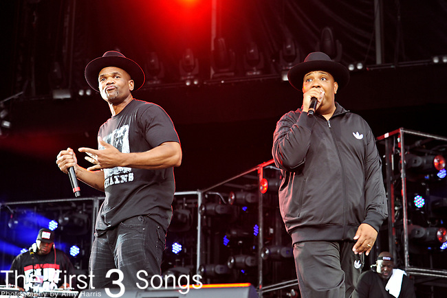 "Darryl ""D.M.C."" McDaniels and Joseph ""Run"" Simmons of Run-DMC perform during Day 2 of the Made in America Music Fesival in Philadelphia, Pennsylvania."