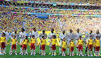 BRASILIA - BRASIL -19-06-2014. Jugadores de Colombia (COL)durante los actos protocolarios previo al partido del Grupo C contra Costa de Marfil (CIV) por la Copa Mundial de la FIFA Brasil 2014 jugado en el estadio Mané Garricha de Brasilia./ Players of Colombia (COL) during the formal events prior the Group C match against Ivory Coast (CIV) for the 2014 FIFA World Cup Brazil played at Mane Garricha stadium in Brasilia. Photo: VizzorImage / Alfredo Gutiérrez / Contribuidor