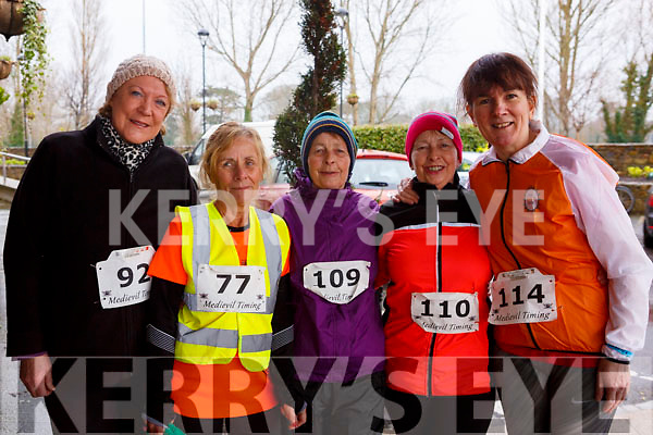 Mary Dolan (Tralee), Carmel Foran (Tralee), Josie O'Shea (Ballymac), Gemma O'Shea (Tralee) and Hilda Jones (Tralee) at the the Optimal Fitness 5 & 10k run at the Rose Hotel on New Years Eve morning.