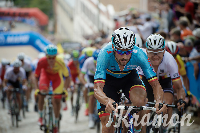the always present Tom Boonen (BEL/Etixx-QuickStep) up 23rd street<br /> <br /> Elite Men Road Race<br /> UCI Road World Championships Richmond 2015 / USA