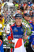Verizon IndyCar Series<br /> Indianapolis 500 Race<br /> Indianapolis Motor Speedway, Indianapolis, IN USA<br /> Sunday 28 May 2017<br /> Takuma Sato, Michael Andretti Autosport Honda celebrates the win in Victory Lane with milk<br /> World Copyright: Scott R LePage<br /> LAT Images<br /> ref: Digital Image lepage-170528-indy-10659<br /> ref: Digital Image lepage-170528-indy-10682