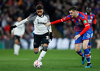5th January 2020; Selhurst Park, London, England; English FA Cup Football, Crystal Palace versus Derby County; Duane Holmes of Derby County being marked by Sam Woods of Crystal Palace - Strictly Editorial Use Only. No use with unauthorized audio, video, data, fixture lists, club/league logos or 'live' services. Online in-match use limited to 120 images, no video emulation. No use in betting, games or single club/league/player publications