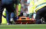 Manchester City's Ederson goes off injured during the premier league match at the Etihad Stadium, Manchester. Picture date 9th September 2017. Picture credit should read: David Klein/Sportimage