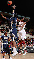 STANFORD, CA - DECEMBER 28: Nnemkadi Ogwumike of Stanford women's basketball puts up a shot in a game against Xavier on December 28, 2010 at Maples Pavilion in Stanford, California.  Stanford topped Xavier, 89-52.