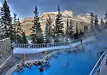 Visitors soaking the Banff Hot Springs in January. Original file size 80 MB.