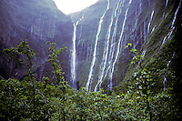 "Waterfalls from  Mt. Waialeale during filming of Strangers in Paradise ( a Nat. Geo. Special), at """"Blue Hole"""", headwaters of Wailua River, east Kauai."