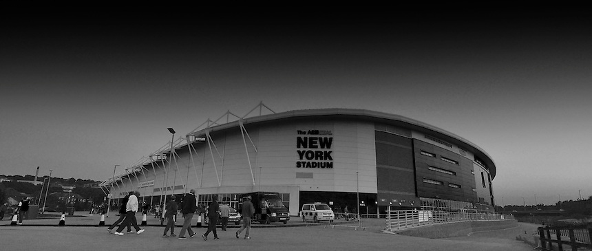 A general view of the AESSEAL New York Stadium, home of Rotherham United<br /> <br /> Photographer Dave Howarth/CameraSport<br /> <br /> Football - The Football League Sky Bet Championship -  Rotherham United v Burnley - Friday 2nd October 2015 - AESSEAL New York Stadium - Rotherham<br /> <br /> &copy; CameraSport - 43 Linden Ave. Countesthorpe. Leicester. England. LE8 5PG - Tel: +44 (0) 116 277 4147 - admin@camerasport.com - www.camerasport.com