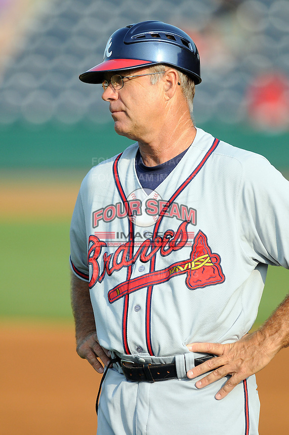 Manager Rick Albert (8) of the Rome Braves, Class A affiliate of the Atlanta Braves, prior to a game against the Greenville Drive on July 18, 2011, at Fluor Field at the West End in Greenville, South Carolina. (Tom Priddy/Four Seam Images)