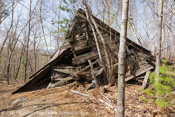 Building at the abandoned Redstone Granite quarry in Conway, New Hampshire USA.