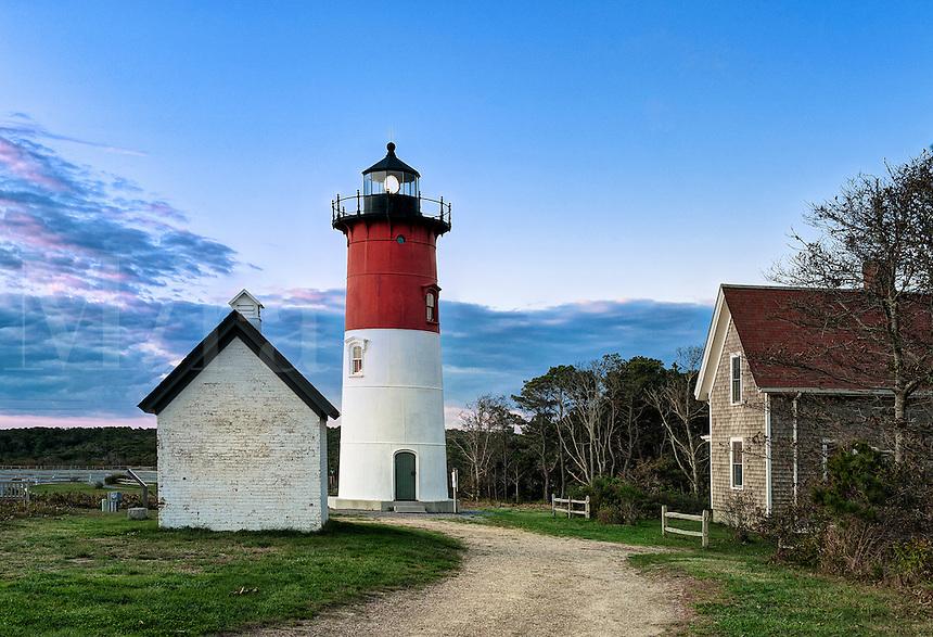 Nauset Light, Cape Cod National Seashore, Eastham, Cape Cod, Massachusetts, USA