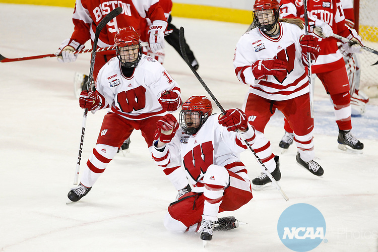 20 MAR 2011:  University of Wisconsin player Brooke Ameran goes to her knee to celebrate her second period goal in there victory over Boston University  in the Division I Women's Ice Hockey Championship held at Tulio Arena on the Mercyhurst College campus in Erie, PA.  Wisconsin defeated Boston University 4-1 to win the national title.  Harry Scull Jr./ NCAA Photos.