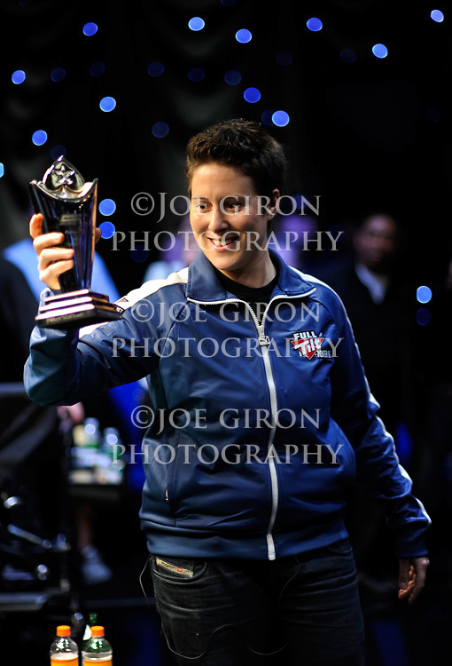 Vanessa Selbst holds the trophy