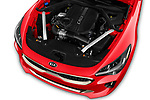 Car stock 2019 KIA Stinger GT 5 Door Hatchback engine high angle detail view