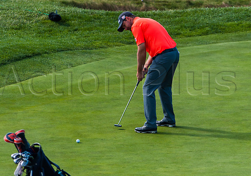 14.02.2016. Carmel, California, USA.  Padraig Harrington of Ireland puts the ball on the 7th green at Pebble Beach Golf Links  during the final  round of the AT&T Pebble Beach National Pro-Am  in Pebble Beach, CA.