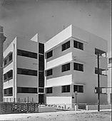 Bauhaus style apartment building. The Appenzeller Building, Allenby Street 96, Tel Aviv, 1934, photographer Itzhak Kalter