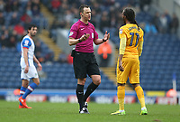 Referee Stuart Attwell has words with Preston North End's Daniel Johnson<br /> <br /> Photographer Stephen White/CameraSport<br /> <br /> The EFL Sky Bet Championship - Blackburn Rovers v Preston North End - Saturday 18th March 2017 - Ewood Park - Blackburn<br /> <br /> World Copyright &copy; 2017 CameraSport. All rights reserved. 43 Linden Ave. Countesthorpe. Leicester. England. LE8 5PG - Tel: +44 (0) 116 277 4147 - admin@camerasport.com - www.camerasport.com