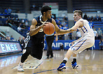 March 1, 2016 - Colorado Springs, Colorado, U.S. -   Utah State forward, Julion Pearre #5, drives past Falcon guard, Jacob Van #15, during an NCAA basketball game between the Utah State University Aggies and the Air Force Academy Falcons at Clune Arena, United States Air Force Academy, Colorado Springs, Colorado.  Utah State defeats Air Force 78-65.