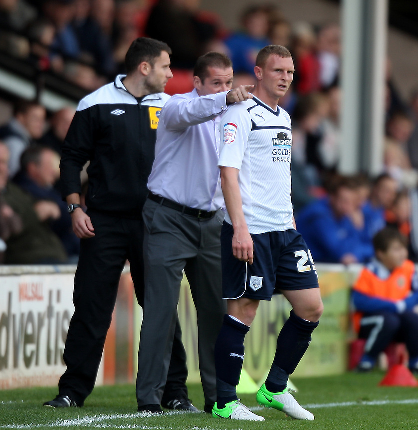 Preston North End's Stuart Beavon receives instructions from manager Graham Westley..Football - npower Football League Division One - Walsall v Preston North End - Saturday 22nd September 2012 - Banks's Stadium - Walsall..