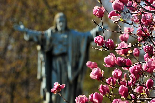 Sacred Heart Jesus statue on main quad..Photo by Matt Cashore/University of Notre Dame