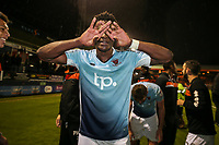 Armand Gnanduillet of Blackpool celebrates victory in the Sky Bet League 2 Play Off Semi Final 2 leg match between Luton Town and Blackpool at Kenilworth Road, Luton, England on 18 May 2017. Photo by David Horn.