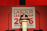 Liverpool, England. 24th September, 2016. <br /> Jeremy Corbyn, gives his first speech following the announcement of his re-election as new leader of the Labour Party at the ACC Conference Centre. Mr Corbyn&rsquo;s victory followed nine weeks of campaigning against fellow candidate, Owen Smith. This is his second leadership victory in just over twelve months and was initiated by the decision of Angela Eagle to stand against him. Kevin Hayes/Alamy Live News