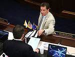 Nevada Senate Minority Leader Michael Roberson, R-Henderson, left, and Lt. Gov. Brian Krolicki work on the Senate floor at the Legislative Building in Carson City, Nev., on Sunday, June 2, 2013. <br /> Photo by Cathleen Allison