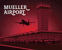 This fine art print celebrates Austin's iconic Mueller Airport. Although the airport was decommissioned in 1999, the tower stands today as a testament to the former famed airport. The ambitious effort to redevelop Robert Mueller Municipal Airport into a mixed-use urban village in the heart of the city has helped spur Austin's new real estate boom and rapid growth as a global city.<br />