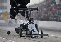 Apr. 26, 2013; Baytown, TX, USA: NHRA top fuel dragster driver David Grubnic during qualifying for the Spring Nationals at Royal Purple Raceway. Mandatory Credit: Mark J. Rebilas-